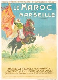 plm & cie de navigation paquet, le maroc par marseille by ernest-louis lessieux