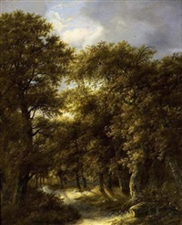 a wooded landscape with two shepherds resting on a path with a flock of sheep in the foreground by gillis rombouts