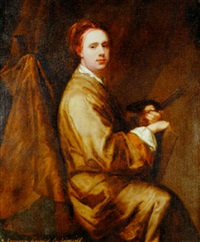 portrait of allan ramsay holding a palette and brushes by william aikman