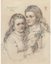 double portrait of anna and agnes young, half-length by emma sandys