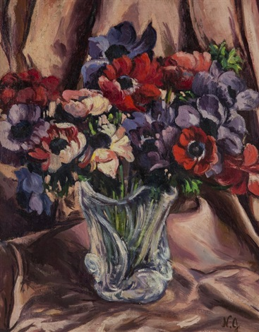 still life with vase of flowers by natalia sergeevna goncharova