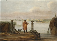 an extensive river landscape with a fisherman by the quayside by arent (cabel) arentsz