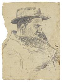 ritratto di uomo con cappello by ottone rosai