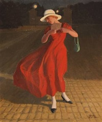evening scene with a lady in a red dress by poul corona