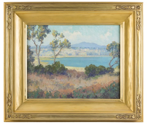 The Bay, landscape with lake and distant mountains by Maurice Braun ...