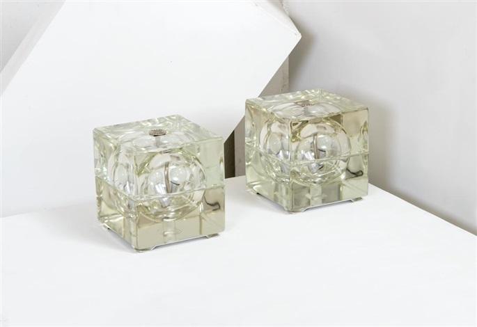 Due lampade da tavolo cubo sfera 2 works by Alessandro Mendini on artnet