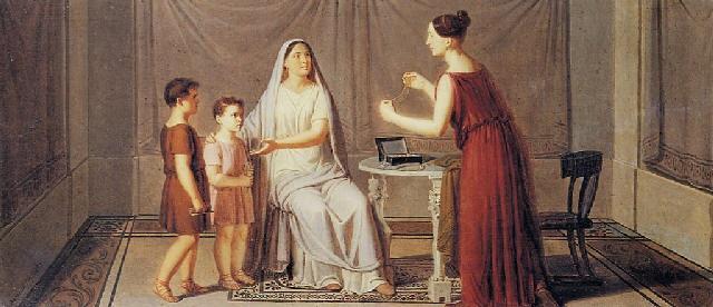cornelia madre dei gracchi mostra i figli allamica che mostra le perle dicendo questi sono i miei gioielli by giuseppe patania