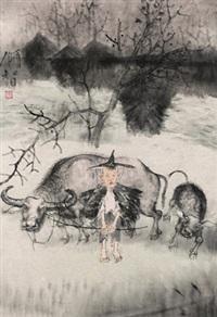 牧趣图 by dai shunzhi