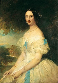 portrait of mary sankey wearing a white silk dress and holding a fan, a landscape beyond by stephen catterson smith
