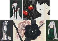 young girls (4); flowers (2) (6 works) by kaoru kawano