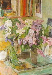 still life with lilacs by rufel fedorovich mikhailov