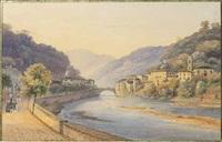 ville alpine au bord d'une rivière by salomon corrodi