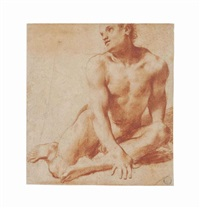 a seated male nude, looking up to the left by pietro faccini