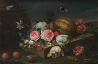 roses, carnations, narcissi, convolvulus, tulip and other flowers with a melon on a stone ledge with a fig and two peaches, a lizard and butterflies by heinrich christoph pickhardt