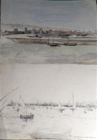 le port de boulogne sur mer et les régates de la pentecôte (2 works) by alexis vollon