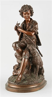 berger sculptant une canne et son chien by eugene-antoine aizelin