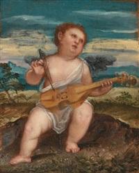 cupid with a violin in a landscape by bonifazio de pitati