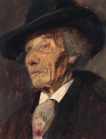 porträt eines herren mit großem schwarzem hut und plastron by wilhelm maria hubertus leibl
