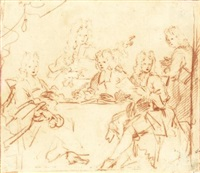 study for a group portrait of the regents of the spin-en nieuwe werkhuis by arnold boonen