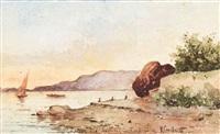 plage de la baie des sablelles, toulon by vincent joseph françois courdouan