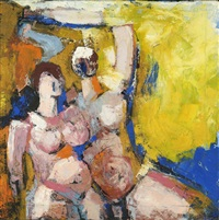 two nudes against a yellow background by wim motz