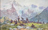 section déployée au col du lanctaret, au fond la meidje by bernard rambaud