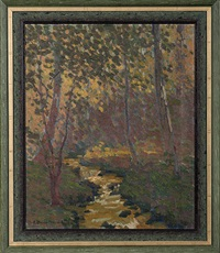 forest scene with stream by dewey albinson