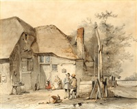 figures near a waterwell by jan weissenbruch