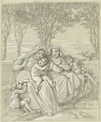italienische frauen und kinder auf einer terrasse by karl wilhelm wach
