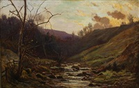 sheep by mountain stream at dusk by ernest higgins rigg
