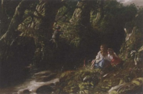 children playing by a stream by jb miller