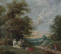 a wooded landscape with an amorous couple and travellers on a track by gaspar de witte