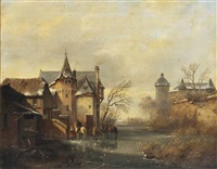 a winter landscape with horses and figures on the ice near a castle by cornelis lieste