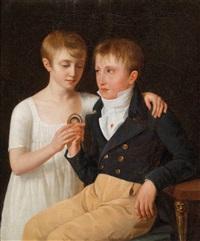 porträt der geschwister henri und adrienne de chavagnac by jacques antoine marie lemoine