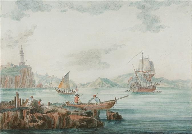 südliche küstenlandschaft mit seehafen und leuchtturm by christoph heinrich kniep