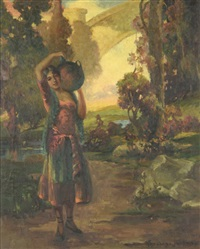 a spanish woman carrying water jug by oscar theodore jackman