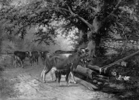 cows on a country road by marvil f keffer