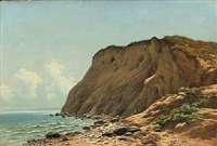coastal scene with cliffs, presumably at møns klint, denmark by carl frederik bartsch