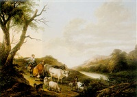 an italianate landscape with a shepherd and his herd, and a girl riding a donkey by frans xaverius xavery