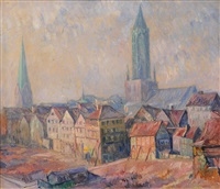 old hamburg with st. james church by hugo volkwarth