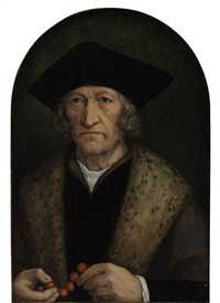portrait of a gentleman in a black hat and brown robe with a lynx collar, holding a rosary by michiel sittow