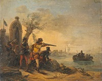 a small group of soldiers defending an outpost by the water's edge by hendrik rochussen the elder