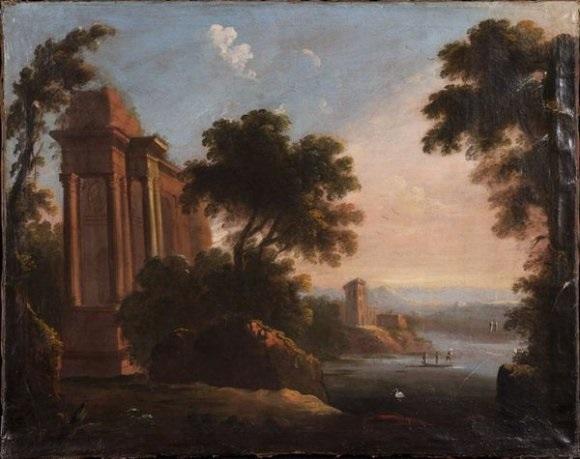 le jeune ruines antiques dans un paysage lacustre by pierre antoine patel