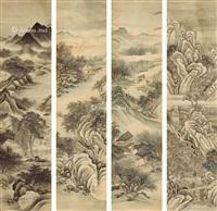 四季山水 立轴四屏 设色纸本 (in 4 parts) by zhang zongcang