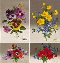 floral suite (4 works) by norah simpson