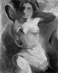 sitzende weibliche aktfigur mit spiegel by ludwig ten hompel