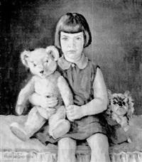 mädchen mit teddybär und bluthund by hans langner