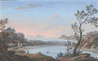 view of lake averno, with the ruins of the temple of apollo and the campi phlegrei in the distance by simone pomardi