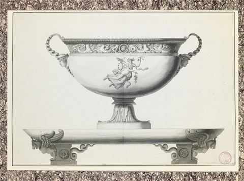 design for a silver tureen with a bacchante holding a garland on a platter with winged lion feet by jean guillaume moitte