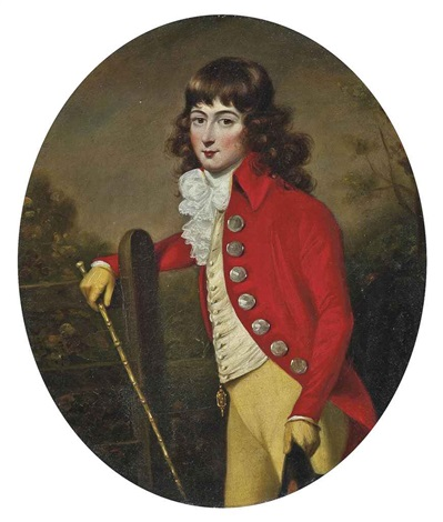 portrait of a gentleman in a scarlet coat and yellow breeches a cane in his right hand a hat in his left in a landscape by john russell